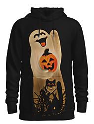 رخيصةأون -رجالي مناسب للبس اليومي البلوز هوديي البلوز 3D الرسم قرع أساسي Halloween هوديس بلوزات أسود