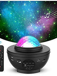 cheap -LED Star Night Light Wave Sky Starry Galaxy Projector Blueteeth USB Voice Control Music Player 360 Rotation Night Lighting Lamp