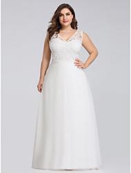 cheap -Women's A-Line Dress Maxi long Dress - Sleeveless Solid Color Lace Zipper Spring Summer V Neck Plus Size Formal Elegant Party Beach Loose 2020 White 4XL 5XL 6XL 7XL 8XL 9XL