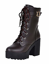 cheap -kcper ankle boots for women chunky thick high heels work winter motorcycle cowboy boots fall combat lace up booties platform dress shoes