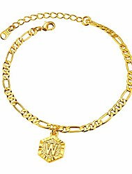 cheap -w anklet women's 18k gold plated initial bracelet barefoot jewelry girls