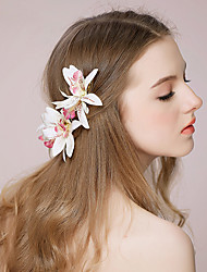 cheap -Fabric Headdress / Hair Clip / Hair Accessory with Floral 3 Pieces Wedding / Party / Evening Headpiece