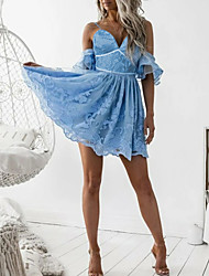 cheap -A-Line Flirty Sexy Homecoming Cocktail Party Dress V Neck Half Sleeve Short / Mini Lace with Pleats Ruffles 2021