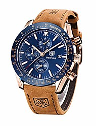 cheap -benyar classic fashion elegant chronograph watch casual sport leather band mens watches 5140l (brown-blue)