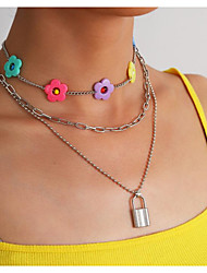 cheap -Women's Necklace Layered Necklace Double Layered Flower Shape Simple Fashion Cute Acrylic Alloy Rainbow 50+7 cm Necklace Jewelry 1pc For Party Evening Gift Engagement Beach Festival