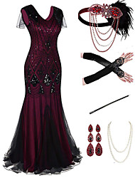 cheap -The Great Gatsby 1920s Vintage Vacation Dress Flapper Dress Outfits Masquerade Prom Dress Women's Tassel Fringe Costume Red+Black / 1 / Coral Red Vintage Cosplay Party Prom / Body Jewelry