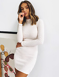cheap -Women's Sweater Jumper Dress Short Mini Dress White Black Long Sleeve Solid Color Backless Fall Round Neck Hot Sexy 2021 S M L XL