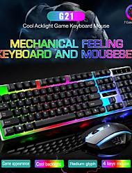 preiswerte -Litbest G21 USB verdrahtete Maus Tastatur Combo Maus und Tastatur Anzug mit Regenbogen Hintergrundbeleuchtung LED Lichter Gaming Maus Büro Maus ergonomische Maus 1200 dpi