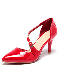 cheap -Women's Heels Stiletto Heel Pointed Toe Casual Daily Buckle Solid Colored PU Walking Shoes Almond / Black / Red