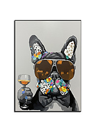 cheap -100% Hand Painted Contemporary Dog Oil Paintings Modern Decorative Artwork on Rolled Canvas Wall Art Ready to Hang for Home Decoration Wall Decor