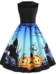 cheap -Halloween Women's A-Line Dress Knee Length Dress - Sleeveless Cat Pumpkin Print Lace Patchwork Print Summer Hot Vintage Slim 2020 Black S M L XL XXL 3XL