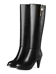 cheap -Women's Boots Chunky Heel Round Toe Casual Basic Daily Solid Colored PU Knee High Boots Walking Shoes Almond / Black