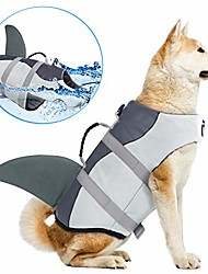 cheap -dog life jackets, ripstop pet floatation life vest for small, middle, large size dogs, dog lifesaver preserver swimsuit for water safety at the pool, beach, boating & #40;xl, pink mermaid&