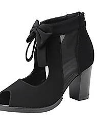 cheap -womens black peep toe cut out bows vintage chunky heel ankle boots (us 7, black)
