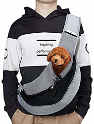 cheap -pet sling carrier, pet front pack hands free sling purse for small dogs cats, outdoor travel puppy carrying bag with adjustable shoulder strap black medium
