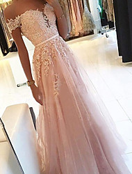 cheap -A-Line Sexy Floral Engagement Formal Evening Dress Strapless Sleeveless Floor Length Tulle with Appliques 2021
