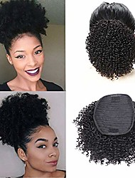 cheap -afro curly human hair bun ponytail extensions 8 inches short cute curly wrap drawstring puff ponytails hairpieces for women with clips natural color (8inch)