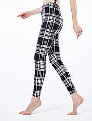 cheap -Women's Sporty Yoga Comfort Skinny Daily Leggings Pants Plaid Ankle-Length High Waist White Black Blue