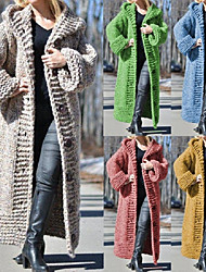 cheap -Women's Open Front Sweater Coat Long Solid Colored Daily Basic Camel Black Blue S M L