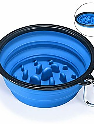 cheap -collapsible slow feeder dog bowl silicone pet travel outdoor drinking water and food bowl to slow down eating for cat and dog,large blue
