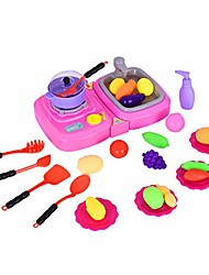 cheap -non-toxic kitchen toy,children's foggy kitchen (with lights and music) children's pretend toys birthday gift (pink)