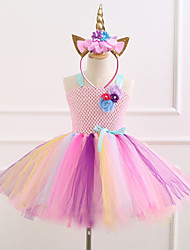 cheap -Unicorn Dress Girls' Movie Cosplay Vacation Dress New Year's Purple / Blue / Pink Dress Headwear Christmas Halloween Carnival Polyester / Cotton Polyester