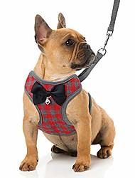 رخيصةأون -مجموعة حزام ومقود للكلاب الصغيرة - لا تسخير للحيوانات الأليفة مع سترة نايلون شبكية ناعمة للكلاب والقطط الصغيرة الحمراء