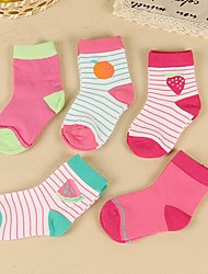 cheap -5 Pairs Kids Toddler Girls' Underwear & Socks Dusty Rose Striped Solid Colored Patchwork Blushing Pink