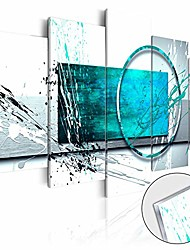 cheap -large turquoise expression abstract wall art 5 panel modern teal canvas print painting