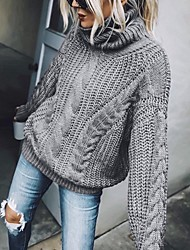 cheap -Women's Basic Knitted Solid Color Plain Pullover Acrylic Fibers Long Sleeve Sweater Cardigans Turtleneck Fall Blue Brown Gray