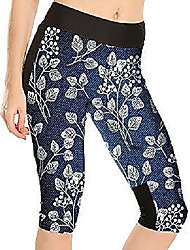cheap -women's printed high waist workout fitted stretch yoga capri leggings snowflaek us 20-22