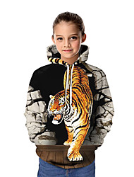 cheap -Kids Girls' Basic Tiger Graphic Animal Long Sleeve Hoodie & Sweatshirt White