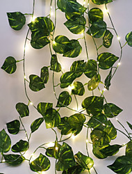 cheap -2.3M 30LEDs New Green Leaf Vine LED String Lights AA Battery Operated Fairy Lights Family Party Wedding Valentine's Day Garden Decoration Lights