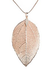 cheap -leaves long necklace leaf sweater chain pendant fashion accessories (rose gold)