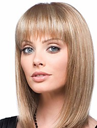 cheap -Human Hair Blend Wig Medium Length Natural Straight Bob With Bangs Blonde Women Easy dressing New Capless Women's Medium Auburn / Bleach Blonde 14 inch