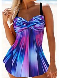 cheap -Women's Sexy Swimsuit Tie Dye Rainbow High Waist Padded Normal Swimwear Bathing Suits Blue Purple / Padded Bras