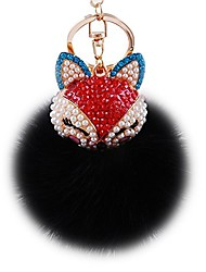 cheap -real rabbit fur ball with artificial fox head inlay pearl rhinestone key chain for womens bag or cellphone or car pendant (white3)
