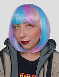 cheap -Cosplay Costume Wig Synthetic Wig Ombre Natural Straight Silky Straight Bob With Bangs Wig Short Rainbow Synthetic Hair 16 inch Women's Cosplay Fashion Ombre Hair Ombre Mixed Color EMMOR