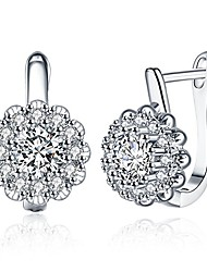 cheap -white gold plated flower small cz hoop earrings for women girls cubic zirconia crystal studs post for sensitive ears