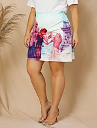 cheap -Women's Casual / Daily Basic Skirts Geometric White