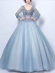 cheap -Ball Gown Elegant Floral Quinceanera Formal Evening Dress V Neck Long Sleeve Floor Length Tulle with Beading Appliques 2020