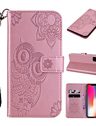 cheap -Case For Apple Scene Map iPhone 12 11 Pro Max XS Max Owl Pattern Embossed Flip Leather Case PU Material Can Insert Card Leather Case Phone Case