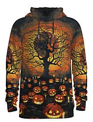 رخيصةأون -رجالي مناسب للبس اليومي البلوز هوديي البلوز 3D الرسم قرع أساسي Halloween هوديس بلوزات بني
