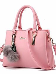cheap -women's leather handbag tote shoulder bag crossbody purse pink