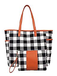 cheap -2pcs buffalo plaid check tote and wristlet set personalized check tote bag handbag,shoulder bag for women (black grid)