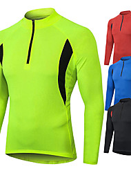 cheap -Men's Long Sleeve Cycling Jersey Winter Polyester Red Blue Green Bike Sweatshirt Jersey Top Mountain Bike MTB Road Bike Cycling Windproof Warm Quick Dry Sports Clothing Apparel / Stretchy