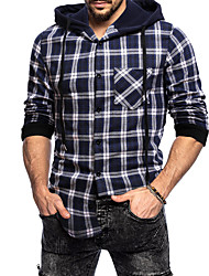 cheap -Men's Shirt non-printing Plaid Long Sleeve Daily Tops Hooded Navy Blue