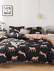 cheap -Leopard Print Black Animal 3 Pieces Bedding Set Duvet Cover Set Modern Comforter Cover Ultra Soft Hypoallergenic Microfiber and Easy Care(Include 1 Duvet Cover and 1 or2 Pillowcases)