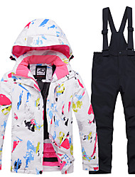 cheap -Boys' Girls' Ski Jacket with Pants Skiing Snowboarding Winter Sports Waterproof Windproof Warm 100% Polyester Clothing Suit Ski Wear