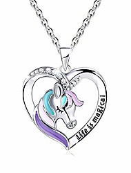 cheap -silver unicorn necklace for girls women kids, with life is magical message gift card birthday gift 18+2 inch